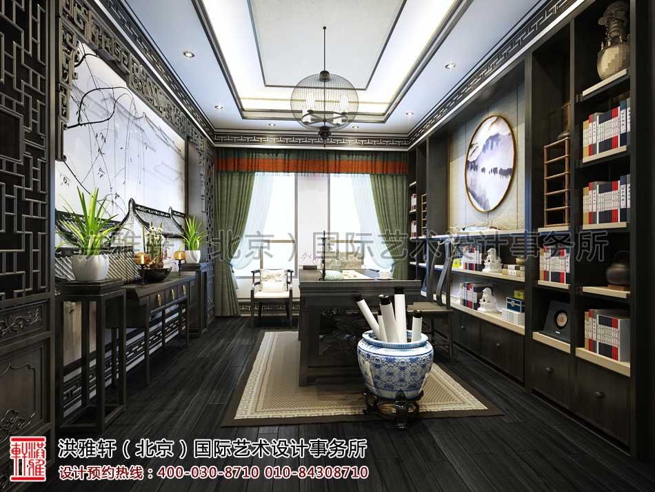 河北廊坊私人会所新中式设计之书房设计效果图