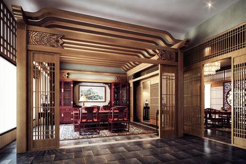 江苏苏州某集团老总办公室中式设计案例欣赏