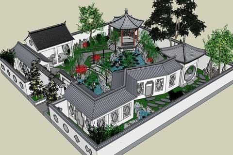 中式园林设计之手绘及草图大师skp模型图欣赏