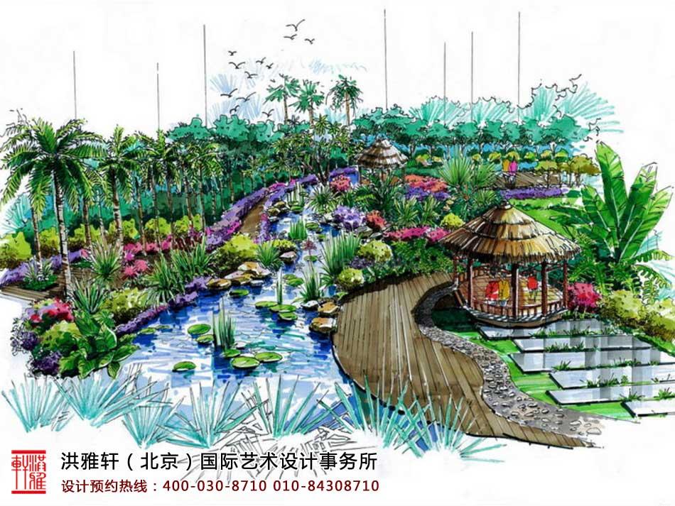 中式园林设计之手绘及草图大师skp模型图