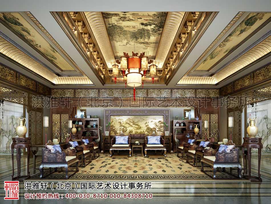 内蒙古包头市某客户四合院室内中式设计之中堂