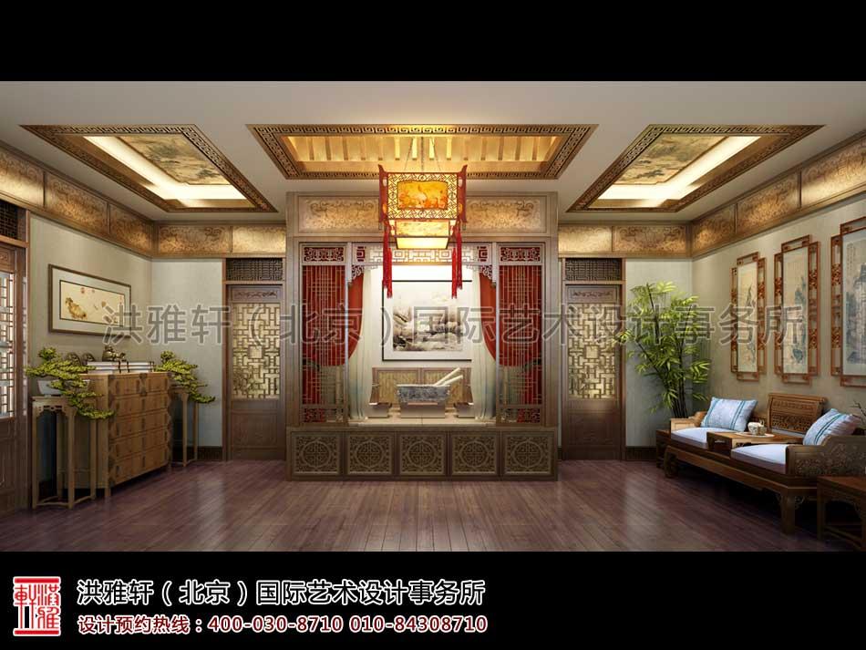 内蒙古包头市某客户四合院室内中式设计之西厢房卧室