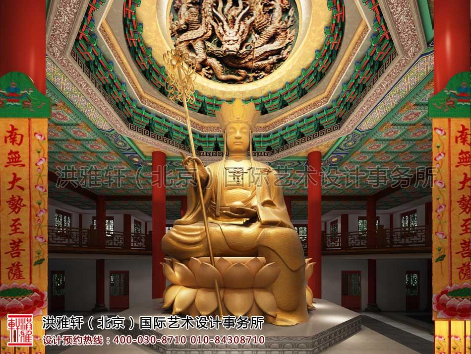 大悲寺寺院大殿大厅顶部设计效果图