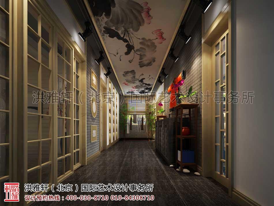 白城茶楼走廊中式设计效果图