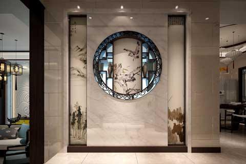别墅玄关装修设计 古典新中式禅意应有尽有