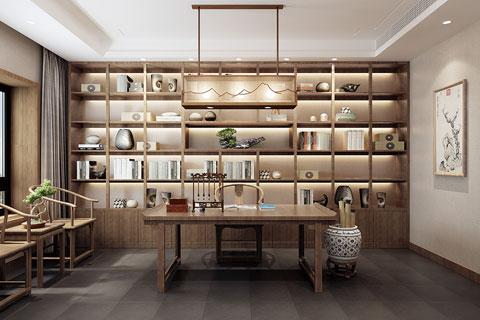云南昆明禅意别墅设计书房空间VR全景效果图