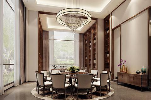 广东深圳新中式别墅设计餐厅空间VR全景效果图