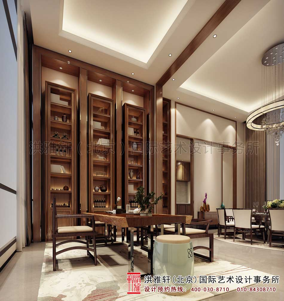 别墅中式风格设计-书房效果图