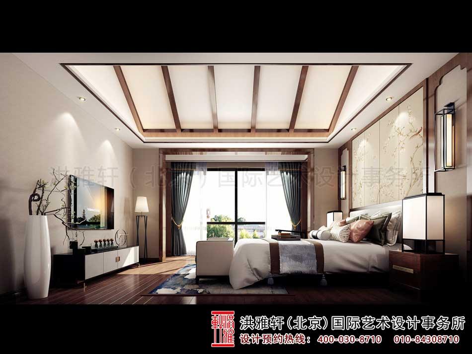 广东深圳新中式风格别墅设计二楼主卧室效果图