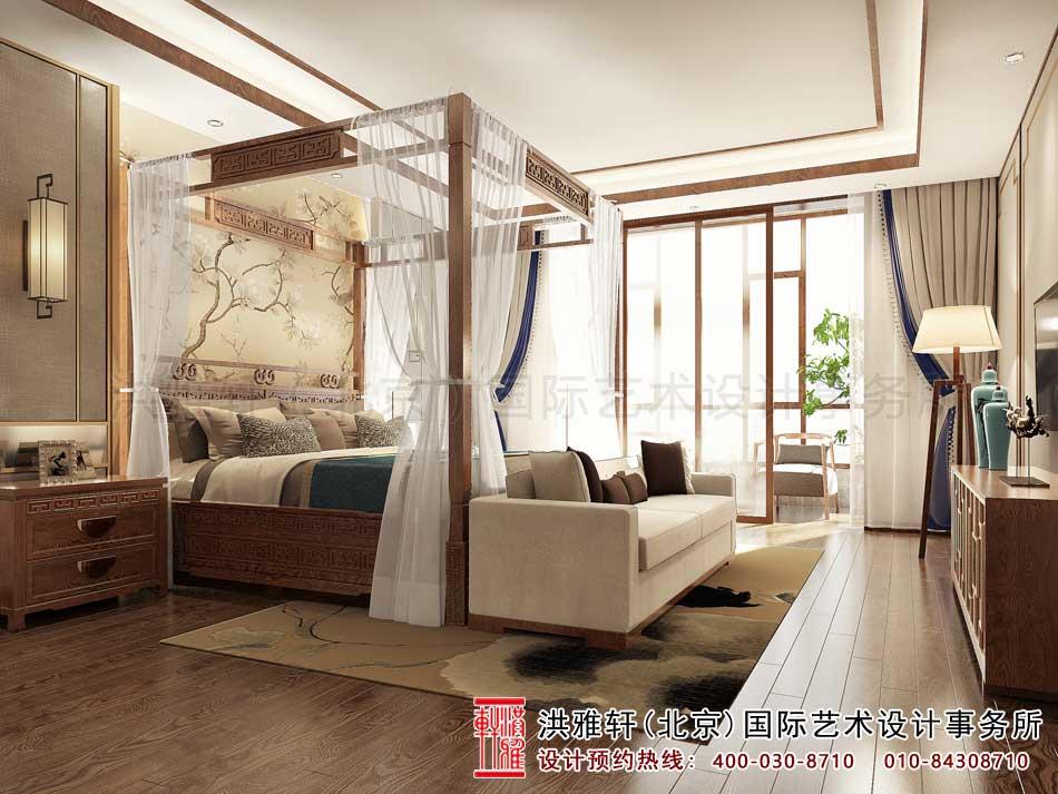 广东深圳新中式别墅设计,二楼客卧效果图