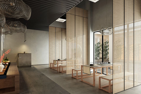 北京高碑店禅意茶楼设计茶室空间VR全景效果图