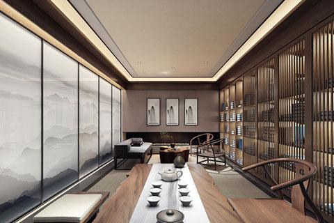 亚运村新中式风格茶楼设计 问君何能尔 心愿地自偏
