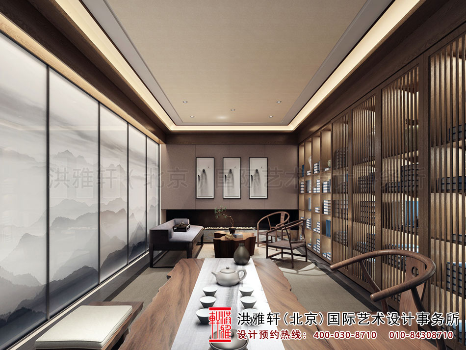 亚运村新中式风格茶楼设计之茶室空间(一)