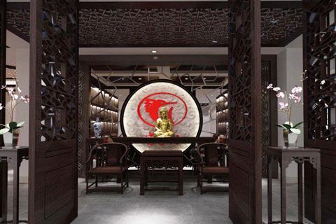 展厅中式装修效果图,红木家具展厅装修图