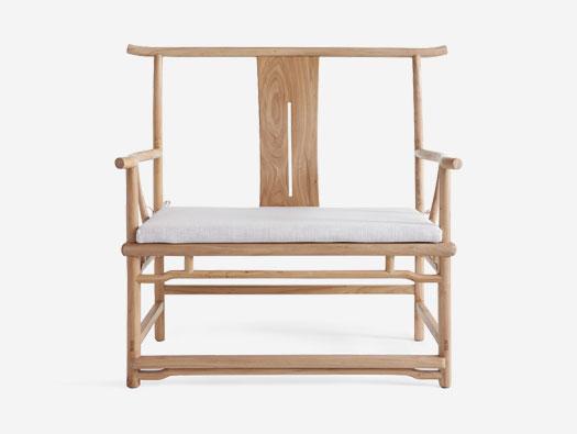 中式榆木榫卯茶室高背官帽茶椅