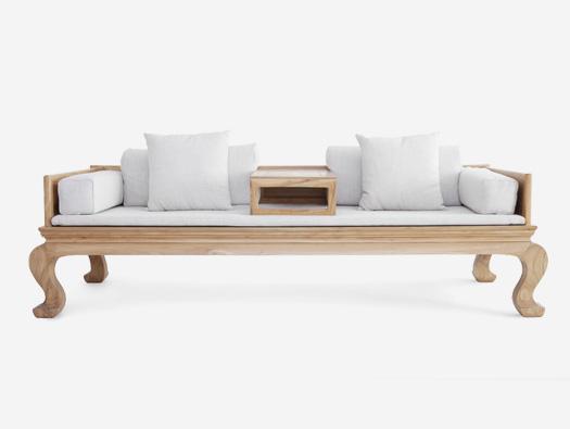 中式榆木客厅茶室亚麻罗汉床