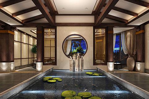 山西精品酒店新中式风格大厅VR全景效果图