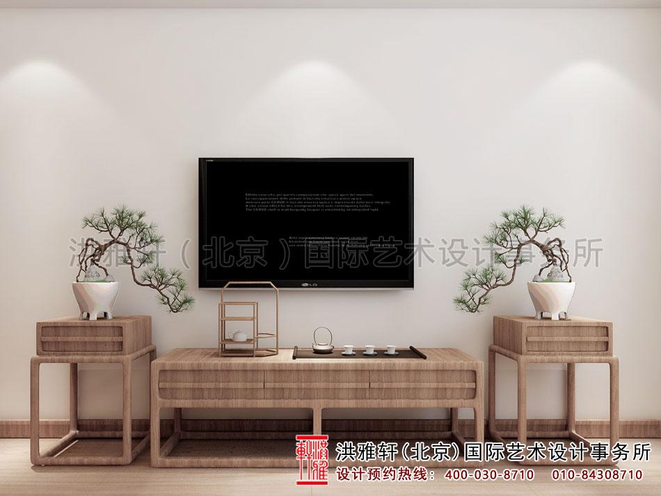 禅意别墅中式装修电视墙效果图