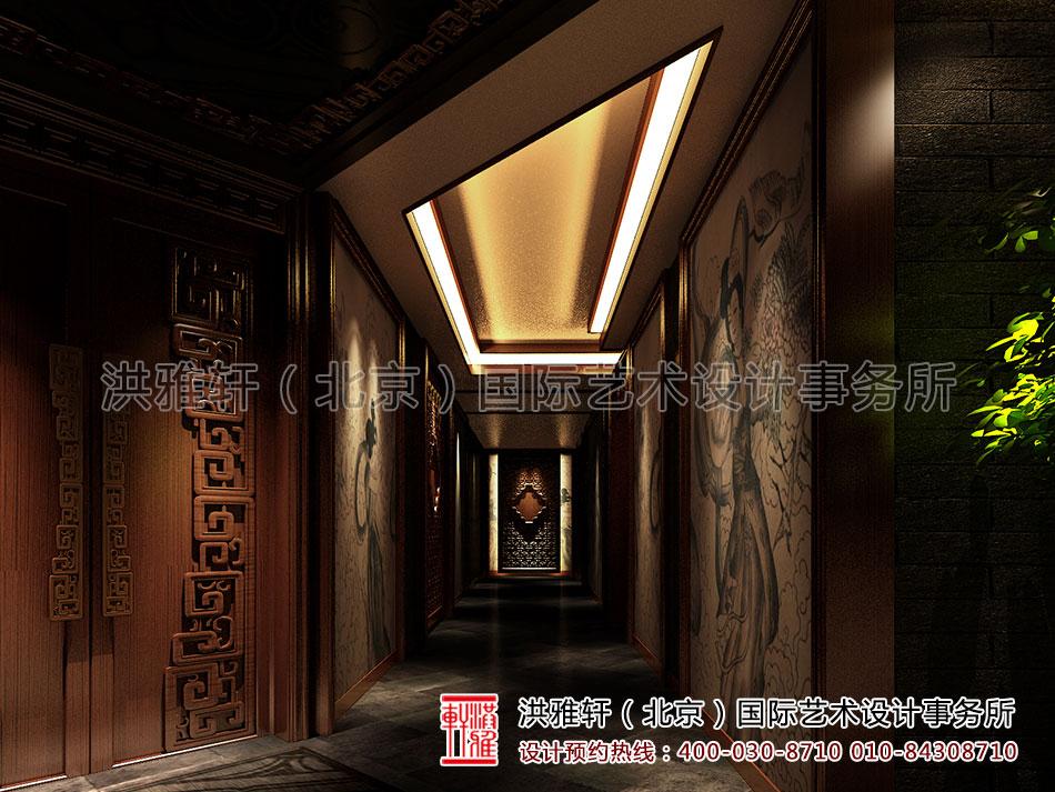 古典会所装修设计之走廊过道