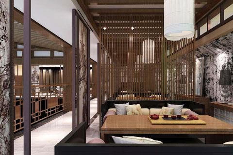 酒店中式餐厅装修效果图 酒店中式装修图 餐饮区中式装修