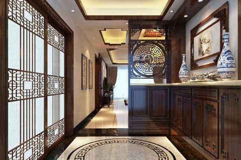 中式玄关装修效果图 中式风格走廊