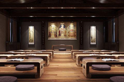 浙江新中式风格私人禅修会所设计之禅修空间VR全景