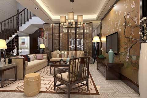 复式楼中式家装客厅餐厅效果图美图欣赏