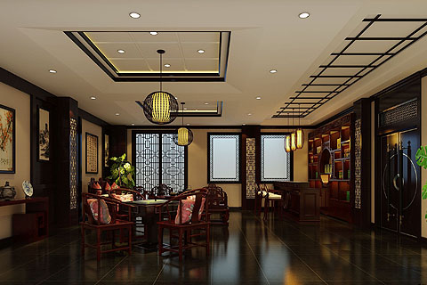 展厅装修组图,展厅装修效果图,最新展厅中式装修图片(一)