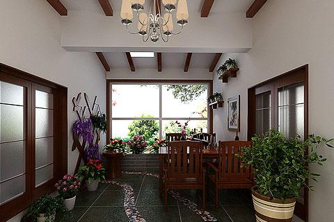 阳光房中式装修效果图 中式装修阳光房设计图