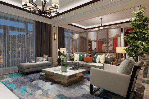 新中式客厅装修图,客厅新中式装修效果图(一)