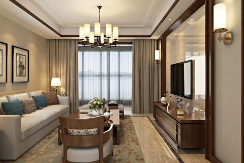 新中式客厅装修图,客厅新中式装修效果图(二)