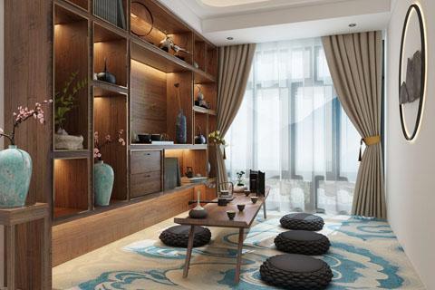 新中式茶室装修效果图,茶室新中式装修效果图合集(一)