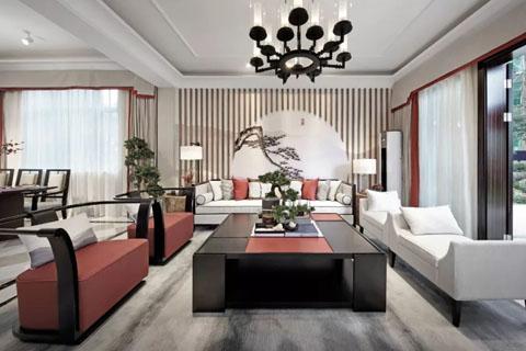 具有新中式风格的沙发背景墙,展现最美新中式