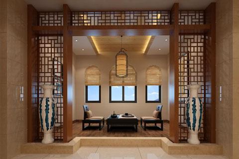 新中式别墅装修效果图,带你领略诗书茶香