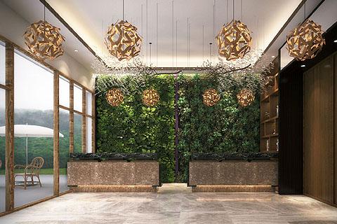 新中式主题酒店装修效果图,主题与地理元素的高度融合