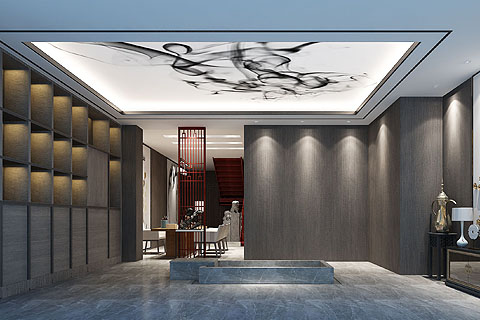 中式办公室装修效果图,富有禅韵意境