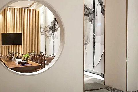 禅意茶楼装修效果图,枯山水与光影枯结合茶语空间