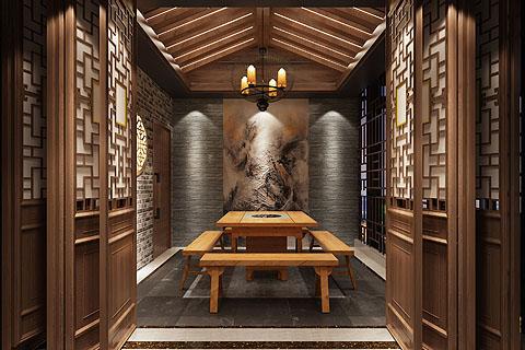 火锅店中式装修图,古典风色香味俱全