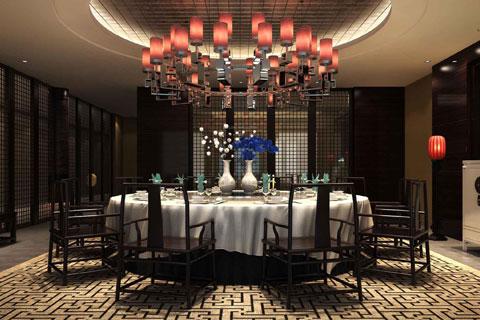 酒店餐厅中式装修风格效果图 铸造中式经典餐饮空间