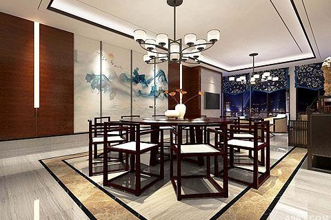 新中式会所装修效果图,私人会所装修新中式设计风格