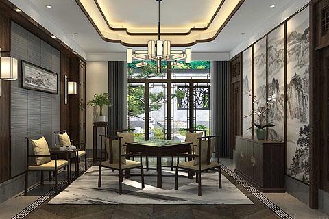 新中式私人会所装修效果图,对传统中式风格不断接的演绎