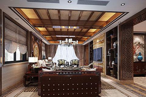别墅装修中式风格设计效果图,轻重并列营造最贴心的气氛