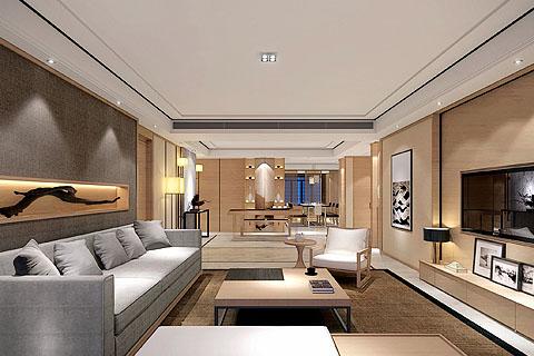 别墅新中式装修效果图,别墅豪宅享受禅意中式氛围