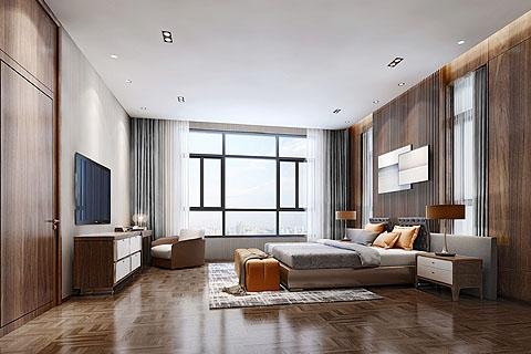 中式设计别墅装修效果图,简单的工艺和材质衔接自然随性