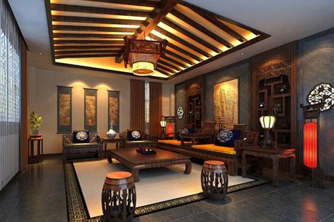 石家庄古典中式会所装修,展现悠然清新之意