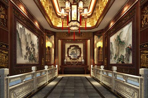 河北廊坊私人会所中式设计装修 古色古香