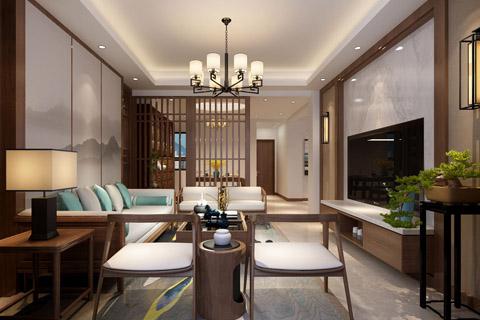 别墅装修中式风格设计效果图,过道以海洋水墨画色调转变