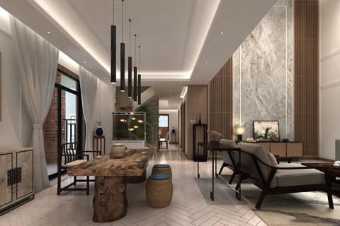 禅意别墅中式装修效果图,原木色为主诠释中式风格的魅力