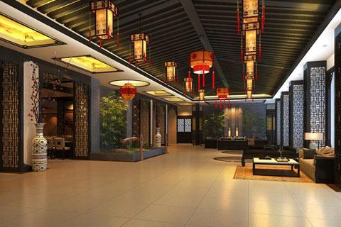 张家界酒店空间装修,庄雅华贵古木生香