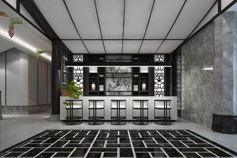 酒店装修效果图,以意境东方为主题展示中式设计